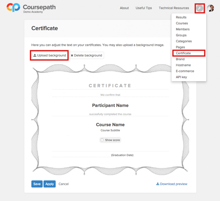 Editing certificates in Coursepath