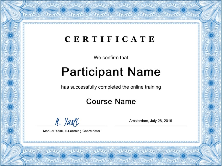 Example certificate in Coursepath