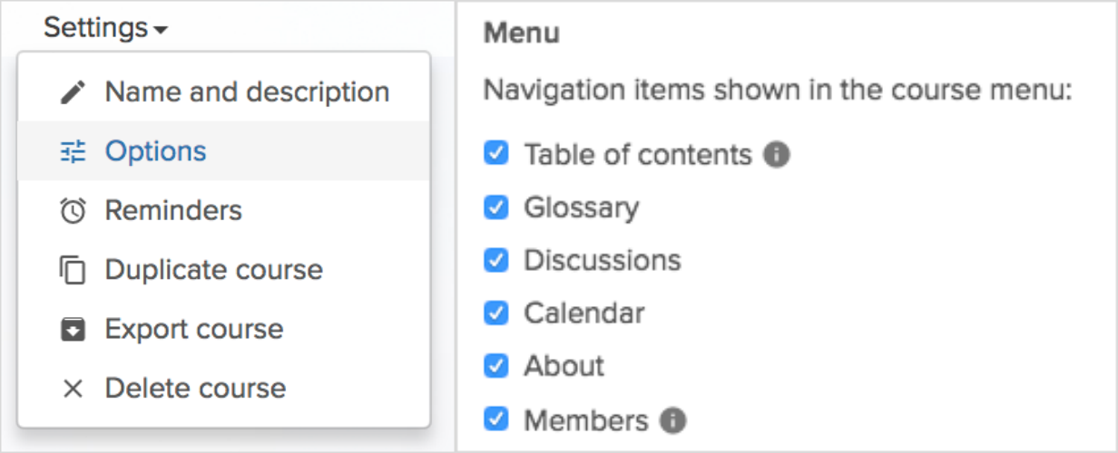 Activate glossary in the menu