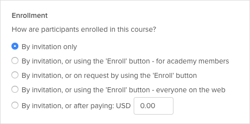 Options for course enrollment