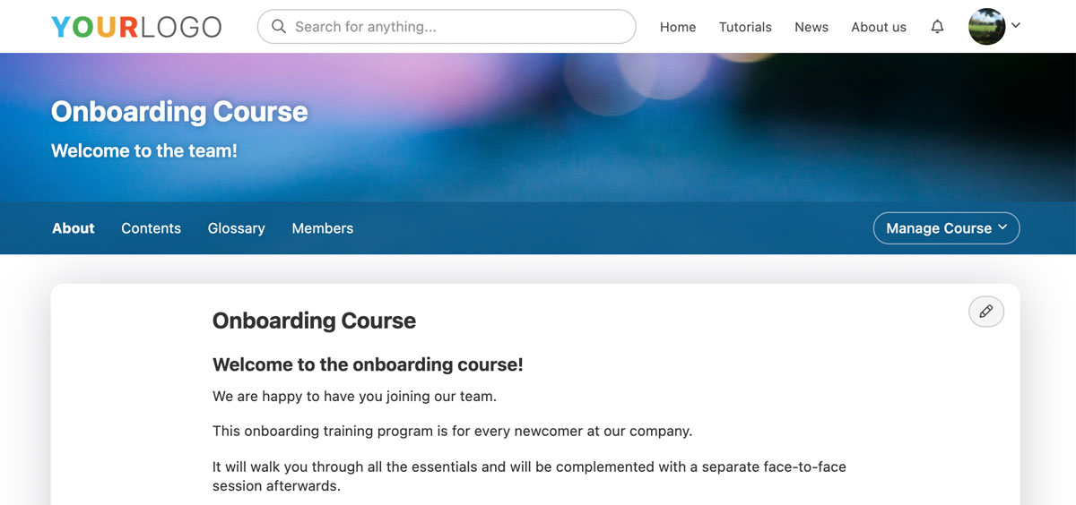 new course homepage